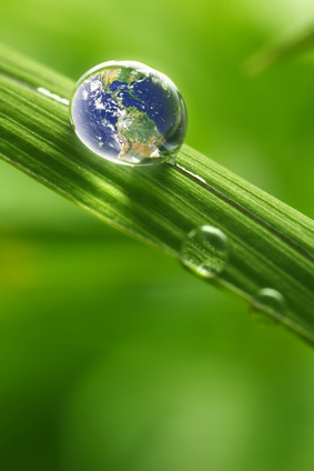 """rain drop on a leaf reflecting earth concept for environmental conservation """"Elements of earth image courtesy NASA"""" / http://www.killerasteroids.org/"""